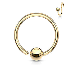 8mm One-Side Fixed Ball Ring Hypoallergenic Nose/ Cartilage Ring