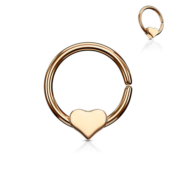 Single Cartilage Bendable Hypoallergenic Hoop w/ Removable Heart