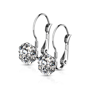 Prong Set Round CZ Lever Back Hypoallergenic Earrings