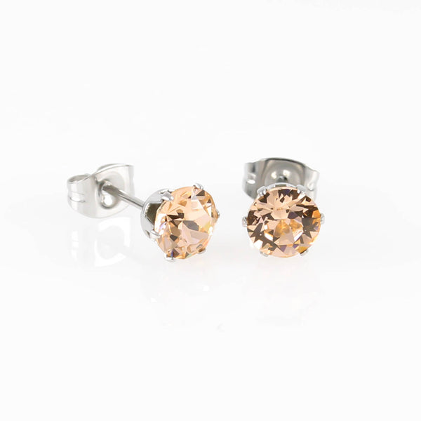 Light Peach Swarovski Hypoallergenic Earrings