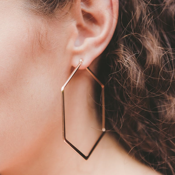 Hexagon Drop 68mm Hypoallergenic Earrings