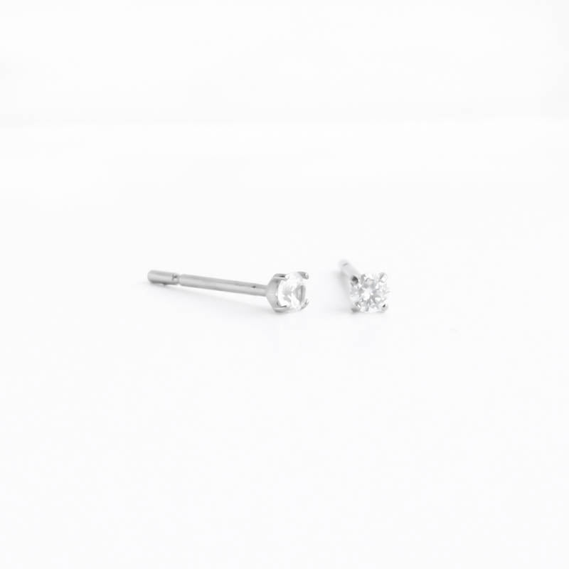 Titanium 2.5mm Prong Set CZ Hypoallergenic Earrings