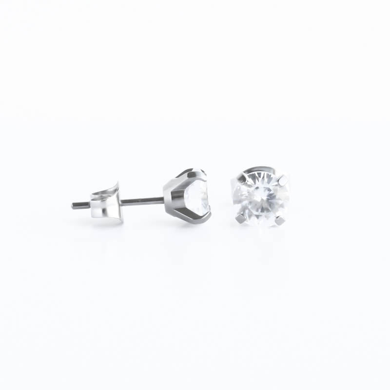 Titanium 6mm Prong Set CZ Hypoallergenic Earrings
