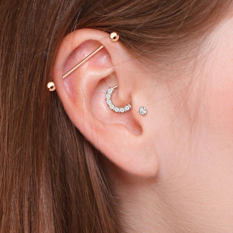 3 Pcs Barbell, Crystal Lined Bendable Hoop, Prong Set CZ Stud Cartilage Earrings