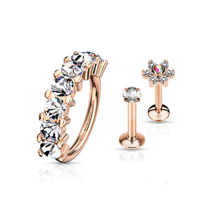 3 Pcs Crystal Lined Bendable Hoop, Crystal Flower and Prong Set CZ Cartilage Studs