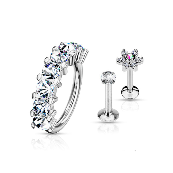 3 Pcs Crystal Lined Bendable Hoop, Crystal Flower Labret Stud, and Prong Set CZ Labret Stud