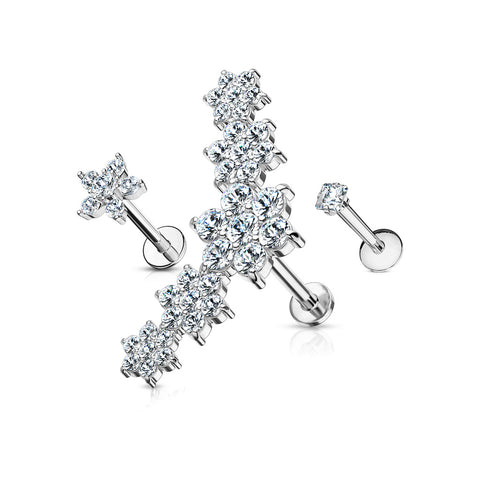 3 Pcs CZ Flower Cluster, CZ Flower, and Prong Set Square CZ Labret Studs 316L Surgical Steel Ear Cartilage Mix Value Pack