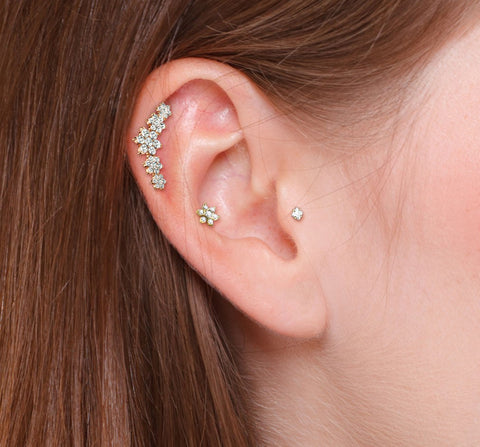 Single Tiered CZ Flower Curve Cartilage Hypoallergenic Stud