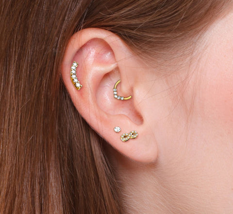 Single CZ Curve Cartilage Hypoallergenic Stud