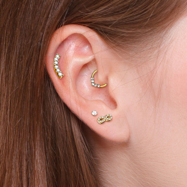 Single CZ Paved Infinity Cartilage Hypoallergenic Stud