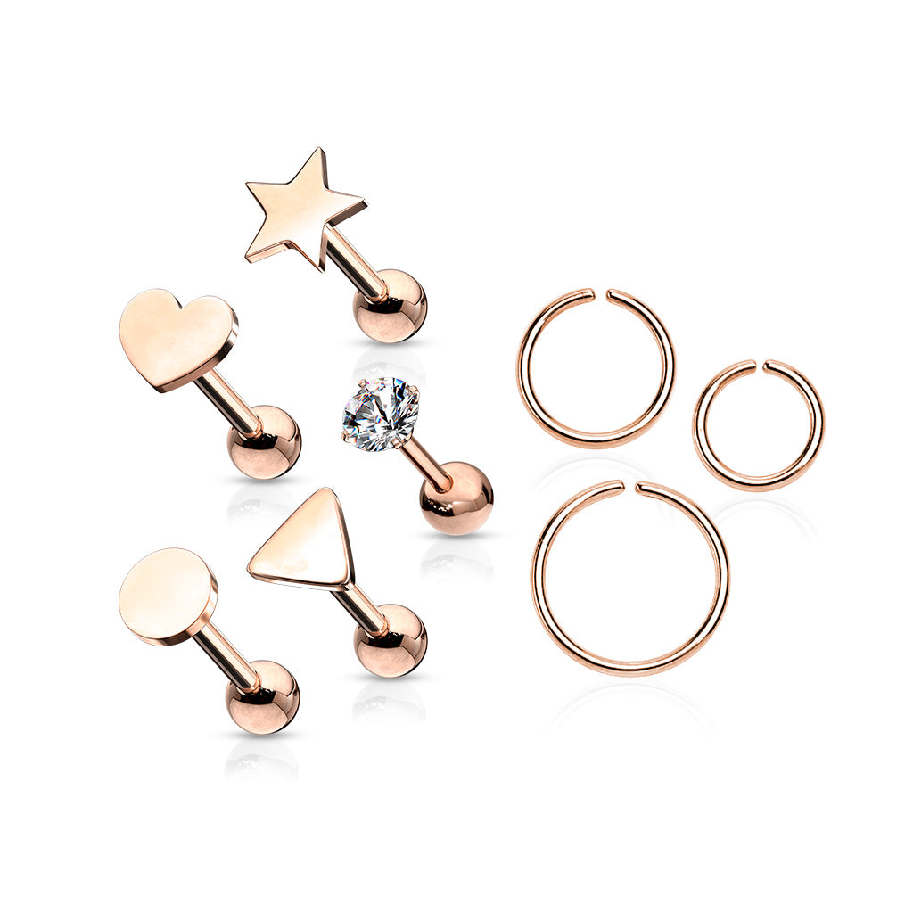 8 Pcs Assorted Barbell Hypoallergenic Cartilage Studs and Hoops