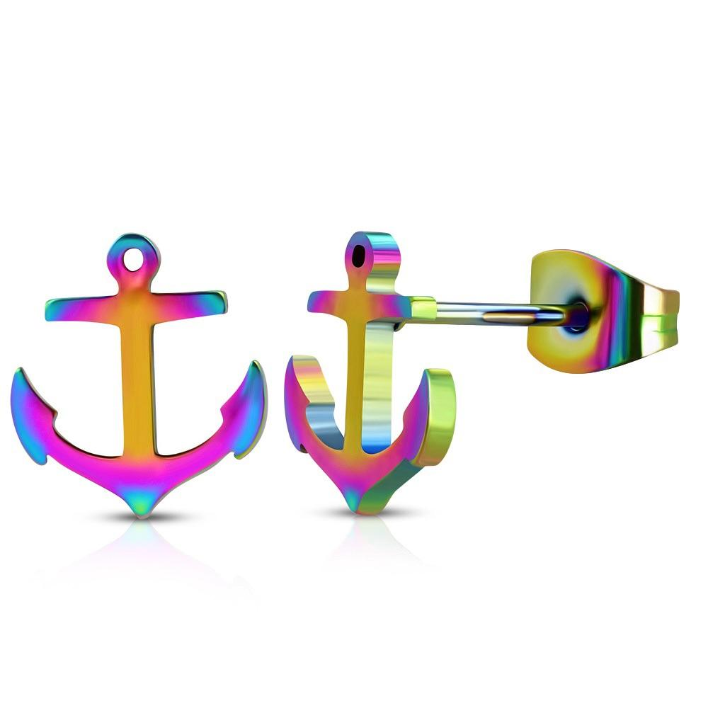Rainbow Stainless Steel Bead Anchor Stud Earrings