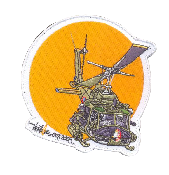 UH-1 Huey Gunship Patch- With Velcro and Sticker