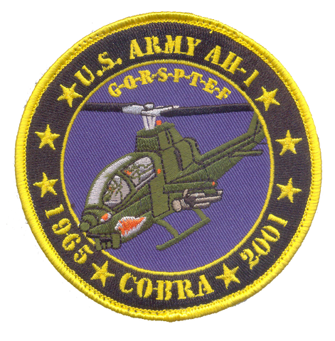 US Army AH-1 Cobra Commemorative Patch- With Velcro