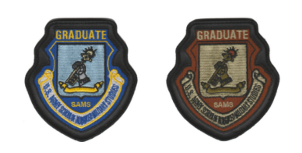 USAF SAMS Graduate Leather Edge Patch- With Hook & Loop