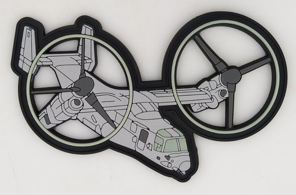 USMC MV-22 Night Ops PVC GITD Patch- With Velcro