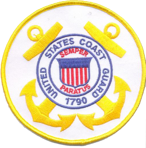 "US Coast Guard 4"" White Patch- With Hook and Loop"