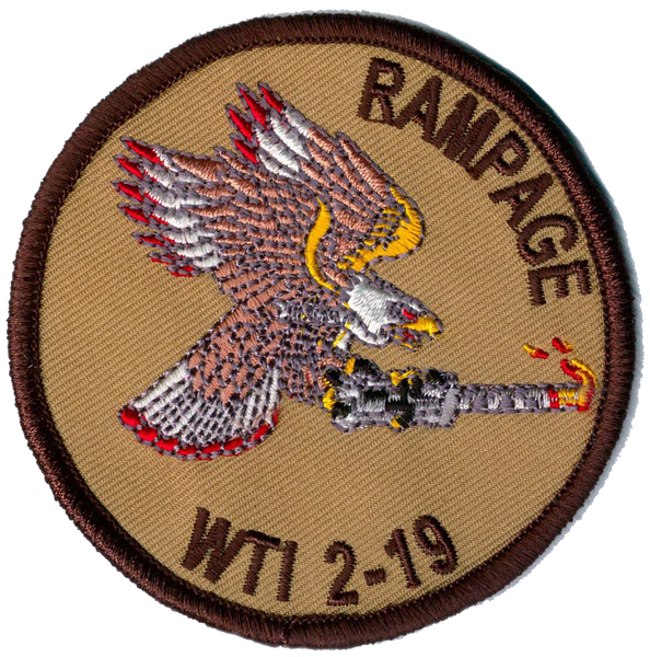 WTI 2-19 Rampage Ordnance Patch- With Hook and Loop