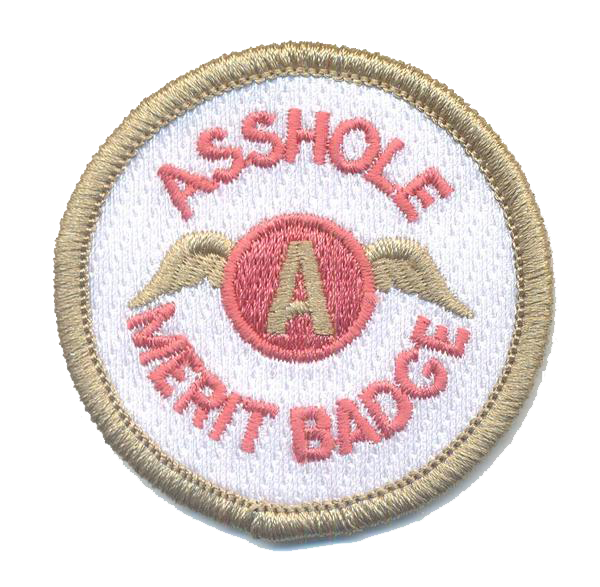 Asshole Merit Badge-No Hook and Loop