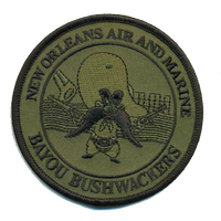 CBP New Orleans Air Branch Bayou Bushwackers GTAC OD green Patch- With Velcro