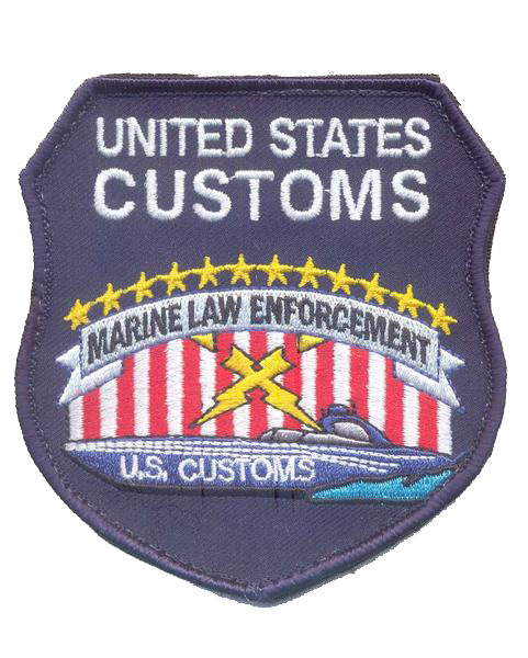 Legacy US Customs Marine Patch- No Hook and Loop