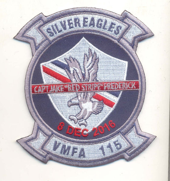 "Capt Jake ""Red Stripe"" Frederick Memorial Patch and Sticker Combo- No Hook and Loop"