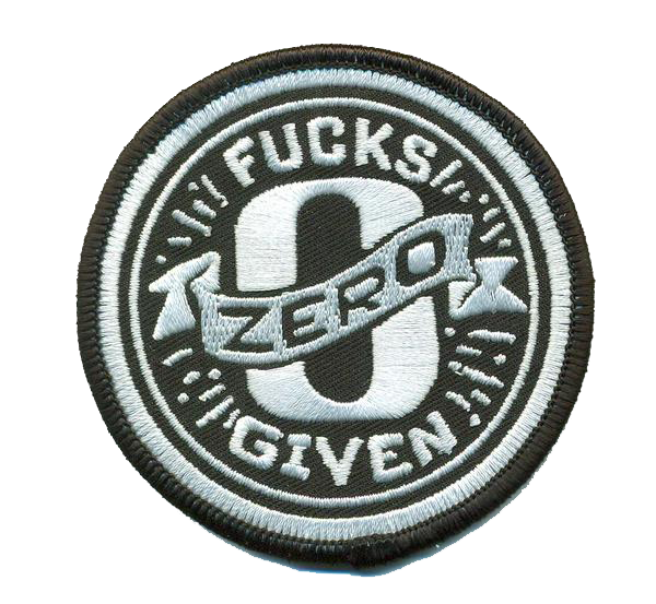 Zero Fucks Patch- No Hook and Loop