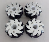 4 100mm Mecanum Wheels with Bearing Rollers: 2left, 2right