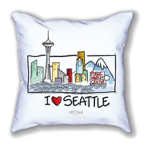 Mr. Oink I Love Seattle Pillow