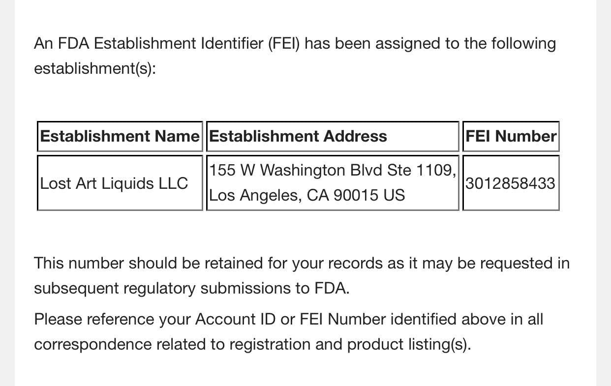 We have received our FEI # from the FDA!
