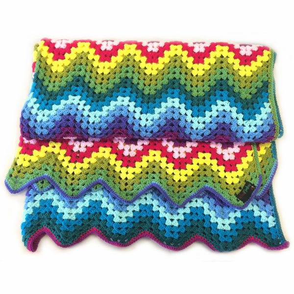 Crochet Patterns Zig Zag Blanket : Crochet Zig Zag Rainbow Granny Blanket Kit - Wool Monkey