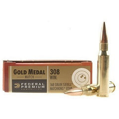 FED. GOLD METAL MATCH c.308 168GR. SIERRA MATCH KING BTHP 200RD CASE