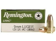 REMINGTON UMC 9MM 124GR FMJ 500rd case