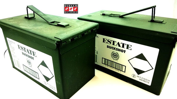 "ESTATE Buck Shot Ammo Can 12Ga 2-3/4"" 00B 9 pellet 7 boxes"