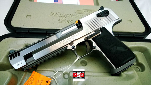 "Desert Eagle 50AE 6"" Stainless steel with muzzle brake and rail DE50SRMB"