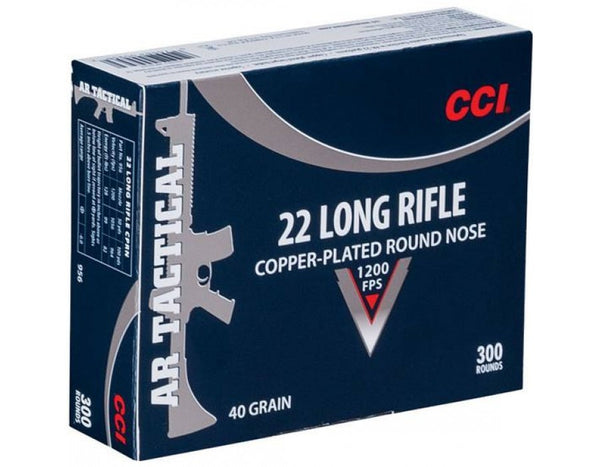 CCI Tactical Ammunition, .22LR (Long Rifle), 40 Grain, Plated Lead Round Nose - Box of 300 Rounds