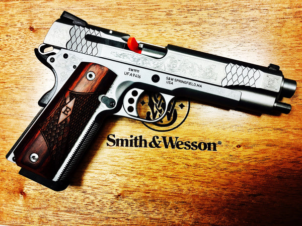 "Smith Wesson ENGRAVED 1911 5"" with factory Wooden Presentation case"