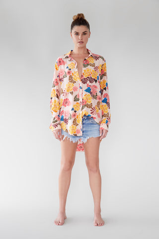 ACACIA Milos Button Up Retro Paradise Cotton-Silk Blend