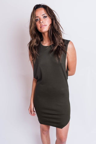 Indah Tallow Ribbed Dress Pine Green