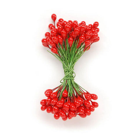 red stamens, red berries, faux red holly berries, red holly berries, fake red holly berries