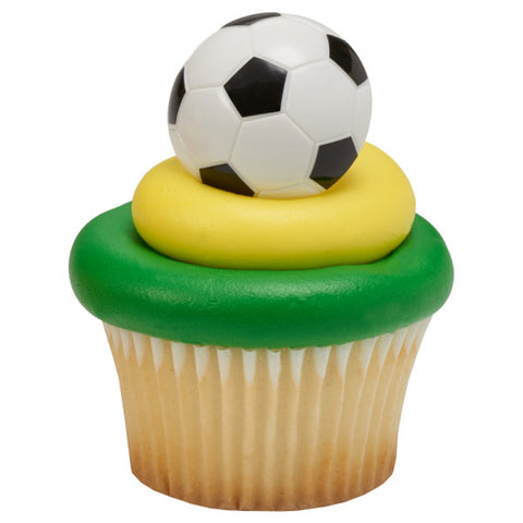 Soccer Ball Rings, Soccer Ball Cupcake Toppers, Soccer Party Favors
