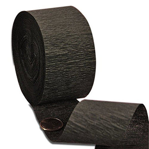 black crepe paper streamers, black streamers, black crepe streamers, black garland, black party supplies