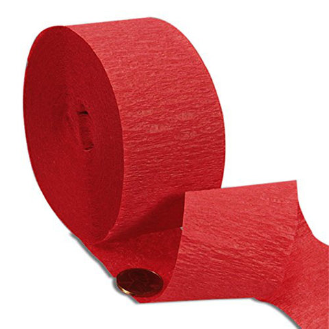red crepe paper streamer, red streamers, red party streamers