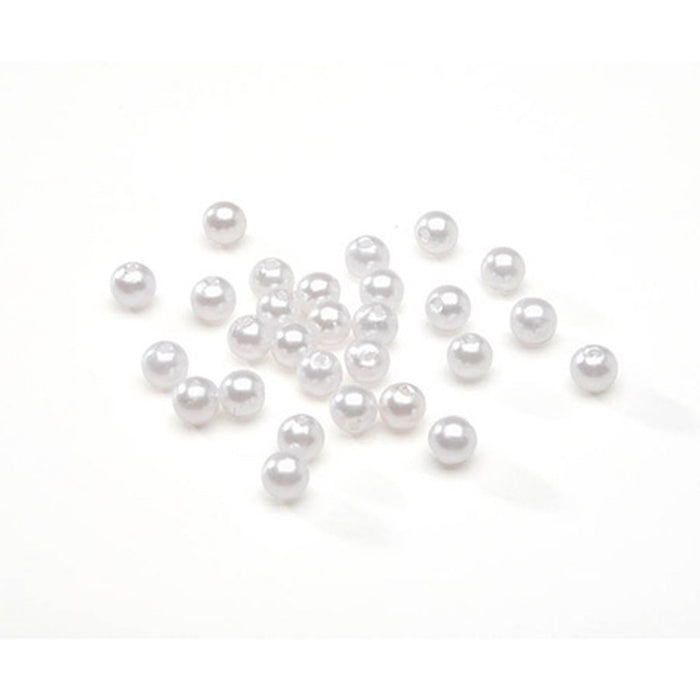 White Pearl Beads - Round - 6mm - 120 pieces (dar04651)