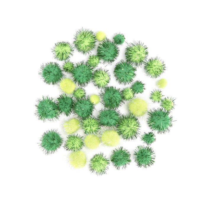 Green Tinsel Pom Poms - Assorted Sizes and Green Colors - 40 Pieces/Pkg. (dar30054151)