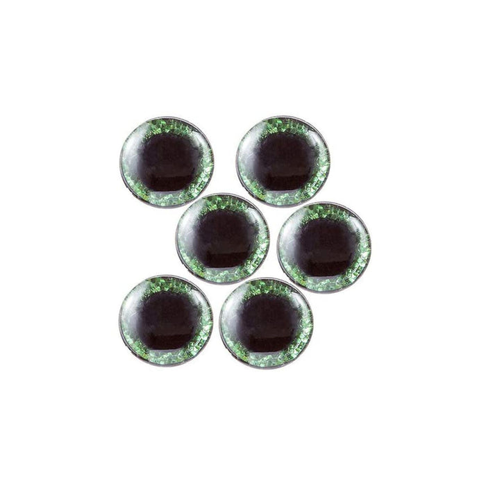 Green Craft Eyes, Green Cat Eyes, Green Eyes  - Self-Adhesive - Molded - 15mm- 6 Pieces (dar30054208)