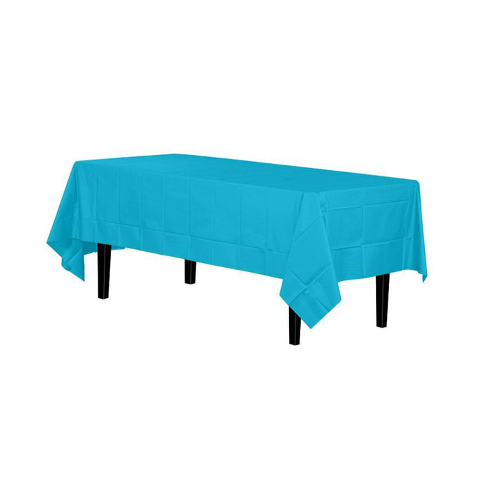 Turquoise Table Cover - Disposable Plastic - 54in. x 108in. Rectangle - 1 Piece (fdp90009)