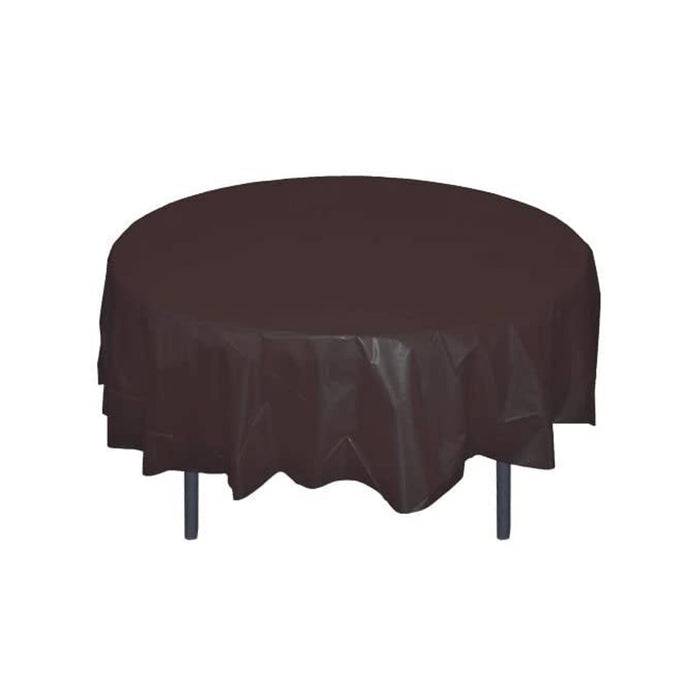 Black Table Cover - Round - Plastic Disposable - 84in. - 1 Piece (fdp91002)