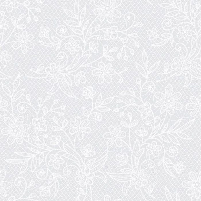 White Floral Table Cover - Plastic - Rectangle - 54in. x 108in. - 1 Piece (fdp93113)