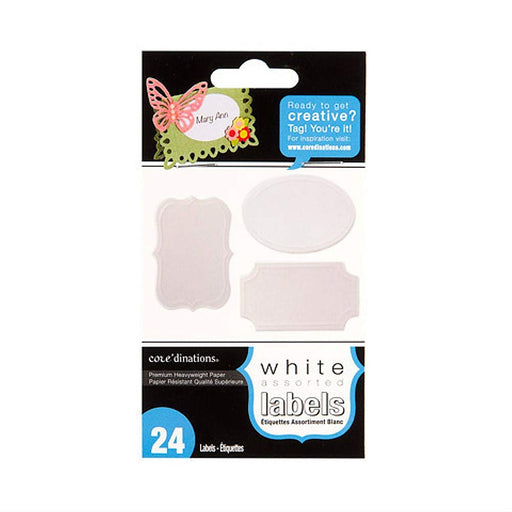 Decorative Labels - White -1.75 x 2.5 inches - 24 Pieces - 3 Assorted Styles (dargx8000135)